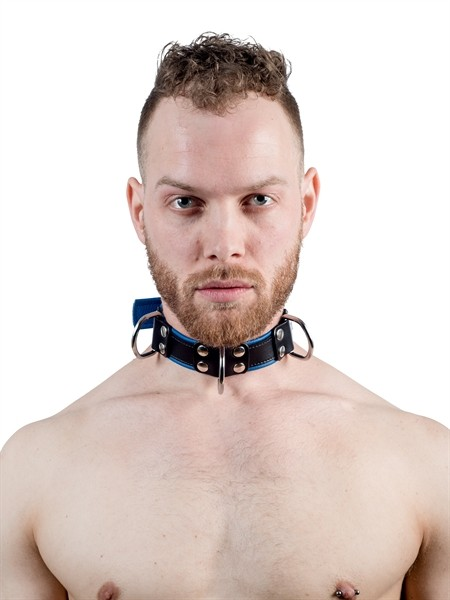 Mister B Leather Slave Collar 4 D-Rings Blue