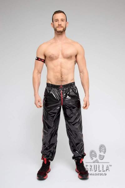 MASKULO Skulla Pants aus dünnem Nylon - Black/Red