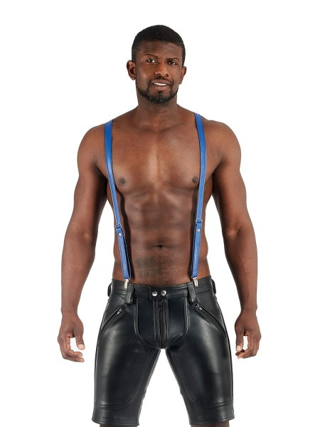 Mister B Leather Suspenders - Blue