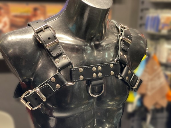 Mister B Leather Chest Harness Saddle Leather Stiched - Black