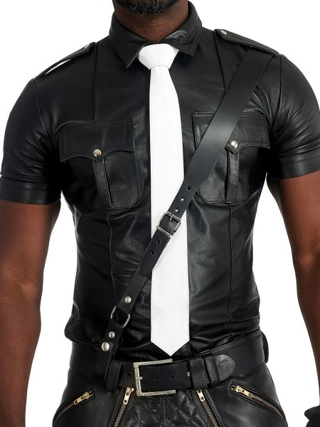 Mister B Leather Tie Stitched - White