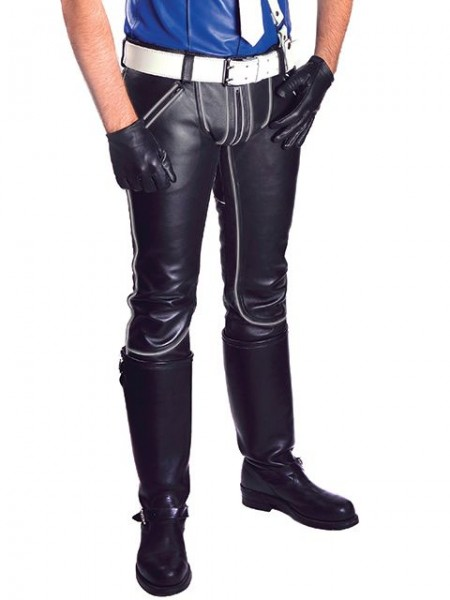 Mister B Leather FXXXer Jeans Black - Grey Piping