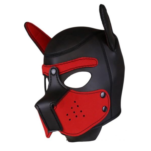 Neoprene Puppy Hood - Black/Red - One Size
