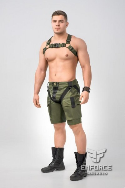 MASKULO - EnForce. Bulldog Harness - Olive/Schwarz