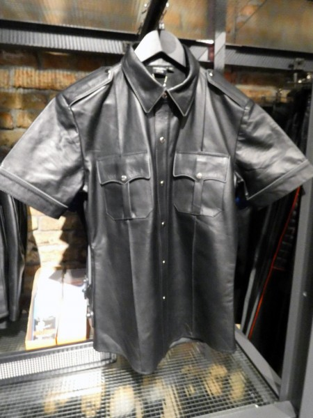 Mister B Leather Police Shirt Short Sleeves Black w/ Grey Piping