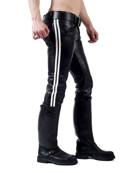 Mister B Leather Ranger Jeans 2 White Stripes