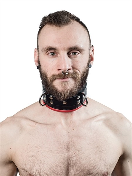 Mister B Leather Slave Collar Red Padding