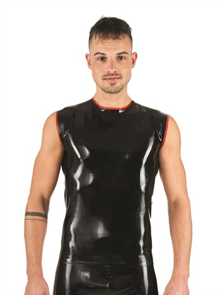 Mister B Rubber Sleeveless T-Shirt Schwarz Red
