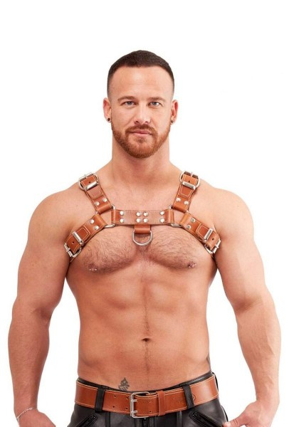 Mister B Leather Chest Harness Saddle Leather Brown