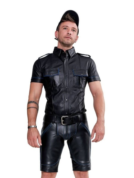 Mister B Leather Police Shirt Short Sleeves Blue Piping