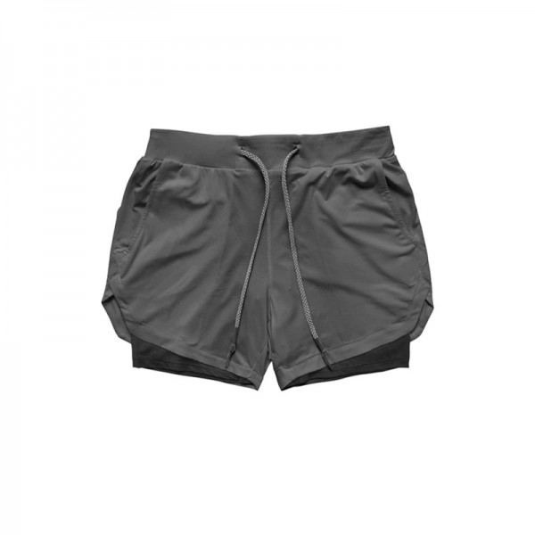 Running Shorts 2 In 1 Double-deck -Grey/Black