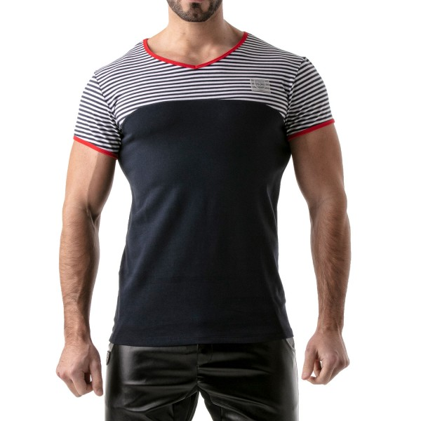 TOF - STRIPES T-SHIRT - NAVY-RED