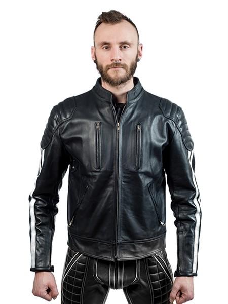 Mister B Leather Biker Jacket White Stripes