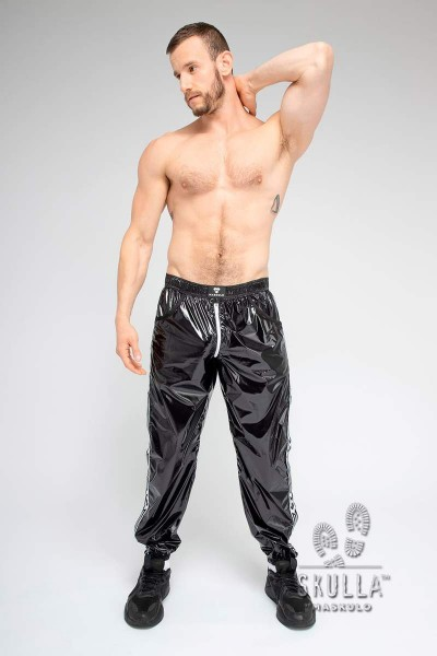 MASKULO Skulla Pants aus dünnem Nylon - Black/White