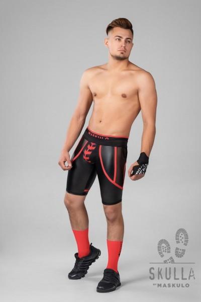 MASKULO S. Fetish Bike Shorts/ZIP thru - Black/Red