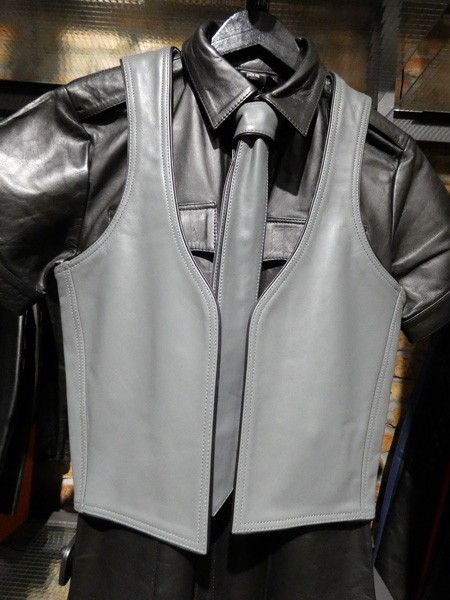 Mister B Leather Muscle Vest - Grey w. Black Piping