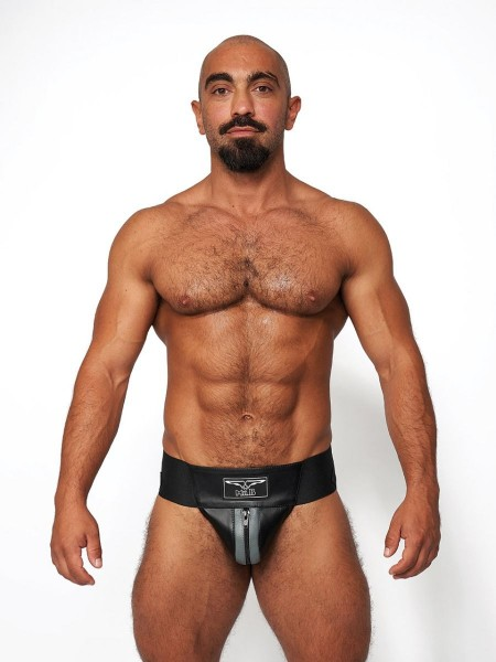 Mister B Leather Premium Jockstrap - Black Grey