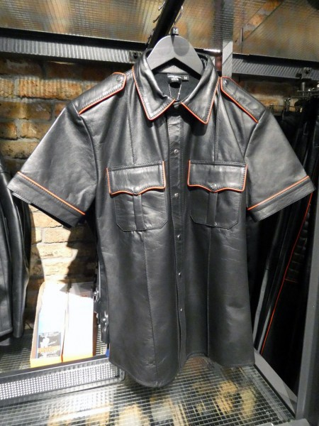 Mister B Leather Police Shirt Short Sleeves Black w/ Red Piping