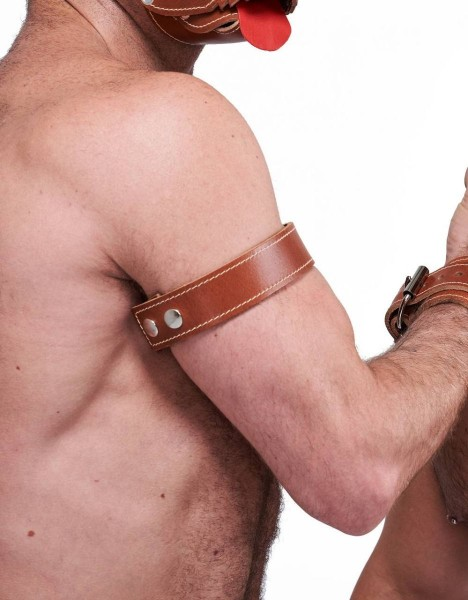 Mister B Leather Biceps Band Stitched - Brown