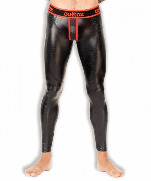 OUTTOX - Leggings mit Reißverschluss hinten - Schwarz Rot