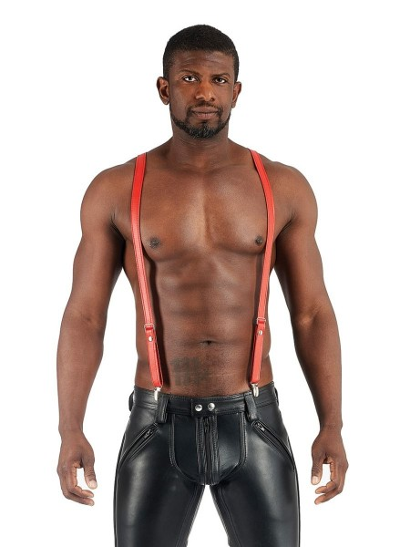 Mister B Leather Suspenders - Red
