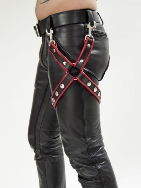 Mister B Leather Leg Harness Black- Red