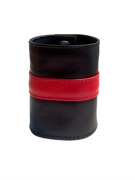 Mister B Leather Wrist Wallet Zip Red Stripe