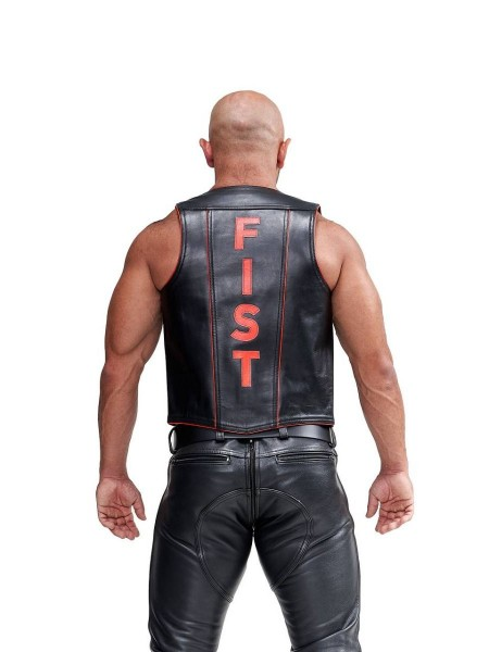 Mister B Leather Muscle Vest Fist Black-Red
