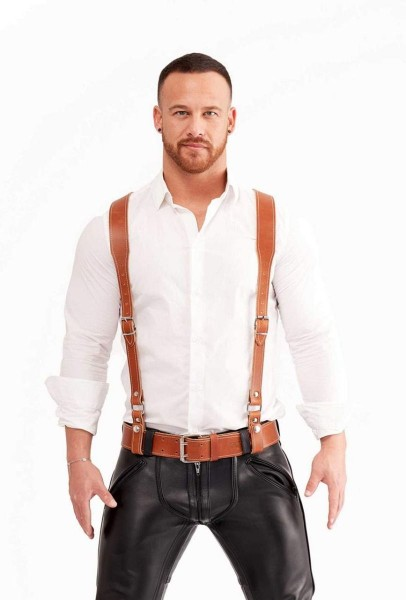 Mister B Leather Braces - Cognac
