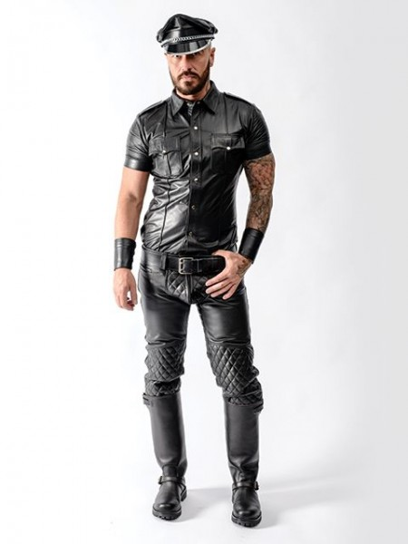 Mister B Sheep Leather Police Shirt Black