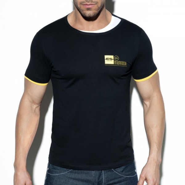 ES - DOUBLE NECK T-SHIRT - Black
