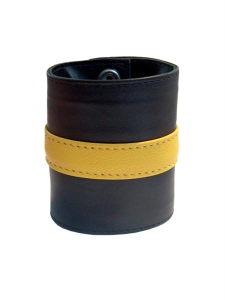 Mister B Leather Wrist Wallet Zip Yellow Stripe
