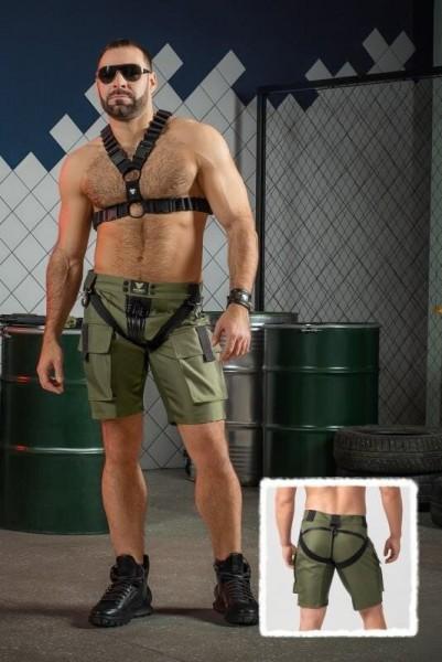 MASKULO EnForce. Cargo-Shorts mit zweiseitigem Reißverschluss