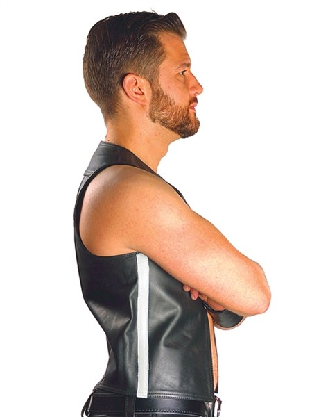Mister B Leather Muscle Vest White Striped