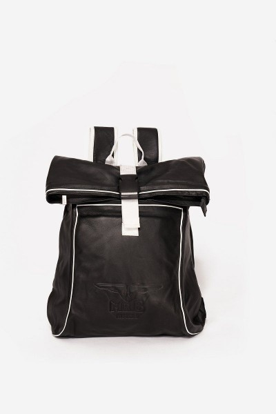 Mister B Leather Backpack - Black/White