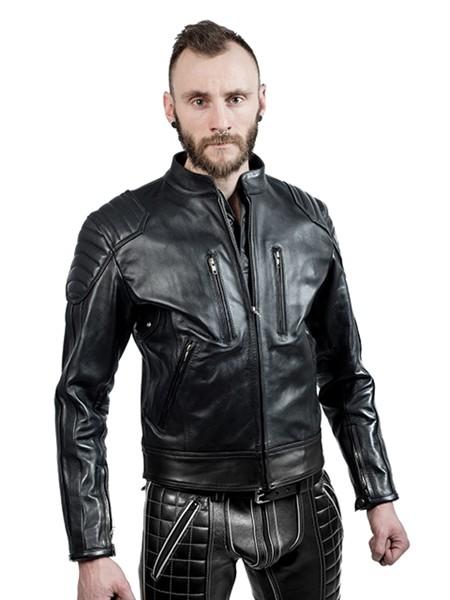 Mister B Leather Biker Jacket Black Stripes