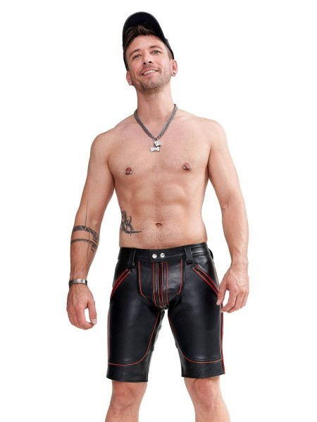 Mister B Leather FXXXer Shorts - Black - Red Piping