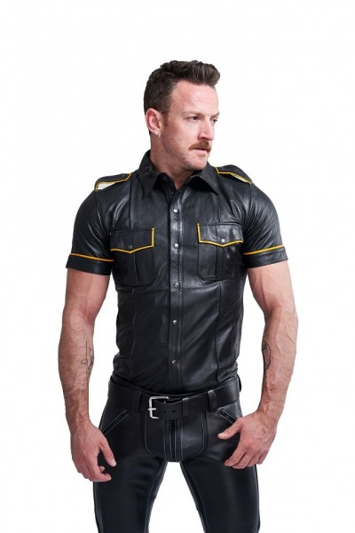 Mister B Leather Police Shirt Short Sleeves Yellow Piping
