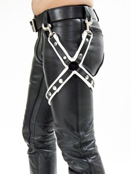 Mister B Leather Leg Harness Black- White