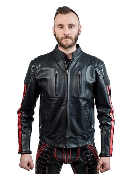Mister B Leather Biker Jacket Red Stripes