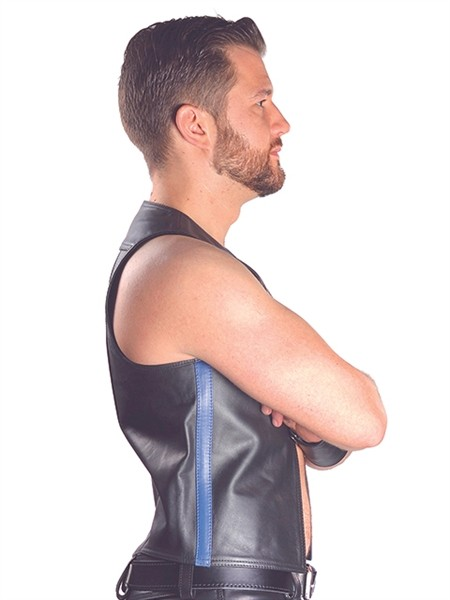 Mister B Leather Muscle Vest Blue Striped