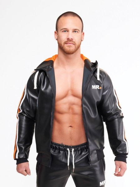 Mr Riegillio MR Tracksuit Jacket - Black - Orange Stripe