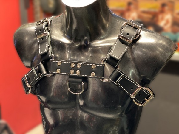 Mister B Leather Chest Harness Saddle Leather Stiched - White