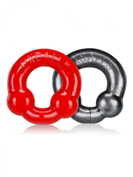 Oxballs ULTRABALLS 2 Pack Cockring Steel-Red