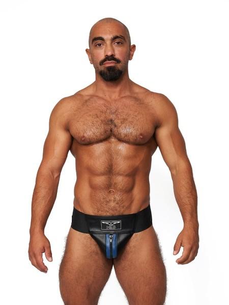 Mister B Leather Premium Jockstrap Black-Blue