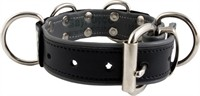Mister B Leather Slave Collar 4 D-Rings Grey