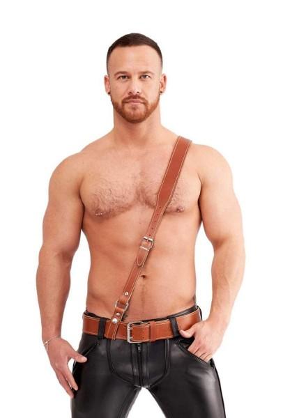Mister B Leather Sam Browne Belt Stitched - Cognac