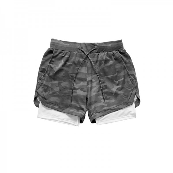 Running Shorts 2 In 1 Double-deck - CAMO/Grey