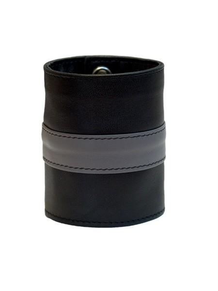 Mister B Leather Wrist Wallet Zip Grey Stripe