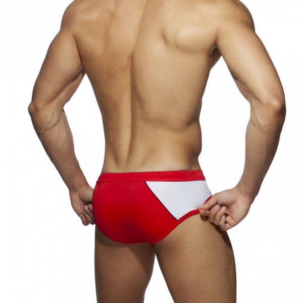 ADDICTED - RACING SIDE SWIM BRIEF - RED
